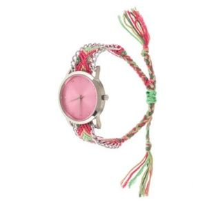 Jewelry - Pink & Green Crochet Fashion Watch